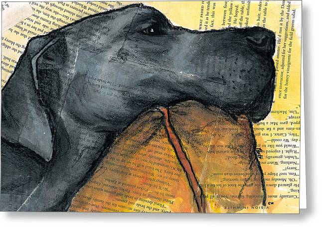 Best Sellers -  - Working Dog Greeting Cards - Blue Great Dane on Pillow Greeting Card by Christas Designs