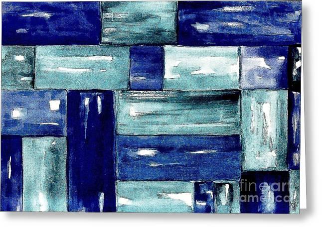 Blue Green Blue Greeting Card by Marsha Heiken