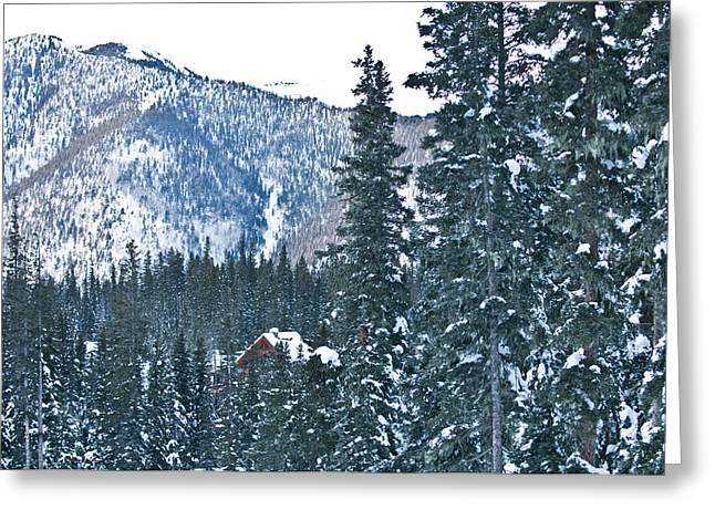 Ski Village Greeting Cards - Blue Green Mountain Greeting Card by Lisa  Spencer
