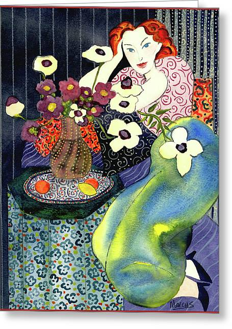 Female Figures Tapestries - Textiles Greeting Cards - Blue Harmony  Greeting Card by Leslie Marcus