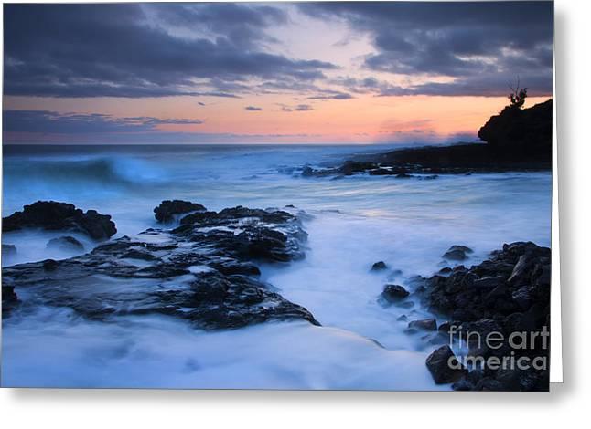Blue Hawaii Sunset Greeting Card by Mike  Dawson