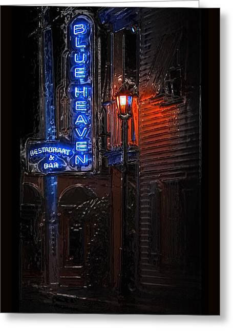 Night Lamp Greeting Cards - Blue Heaven Rendezvous - Key West Bar - Florida Greeting Card by John Stephens