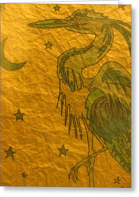 Sweat Mixed Media Greeting Cards - Blue Heron Greeting Card by Austen Brauker