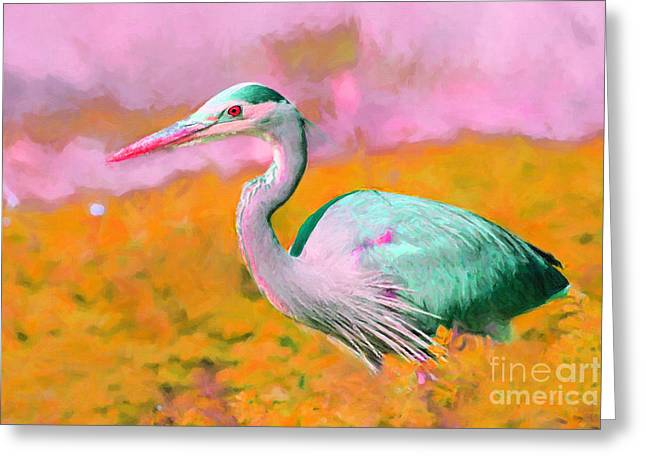 Water Fowl Greeting Cards - Blue Heron . Painterly Greeting Card by Wingsdomain Art and Photography