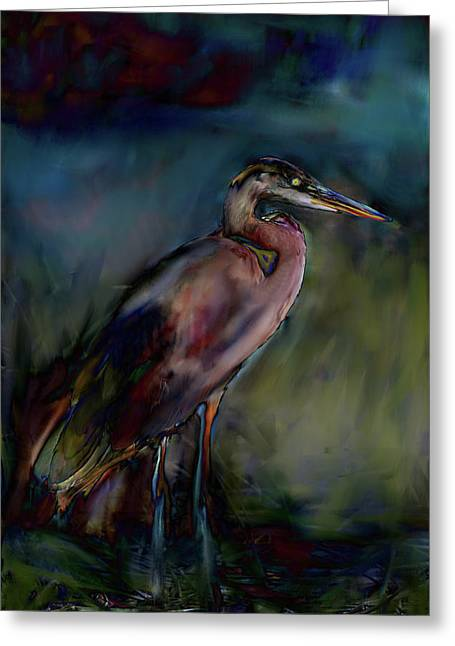 Green Ocean With White Water Greeting Cards - Blue Heron Painting II Greeting Card by Don  Wright