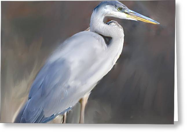 Blue Heron Painting III Greeting Card by Don  Wright