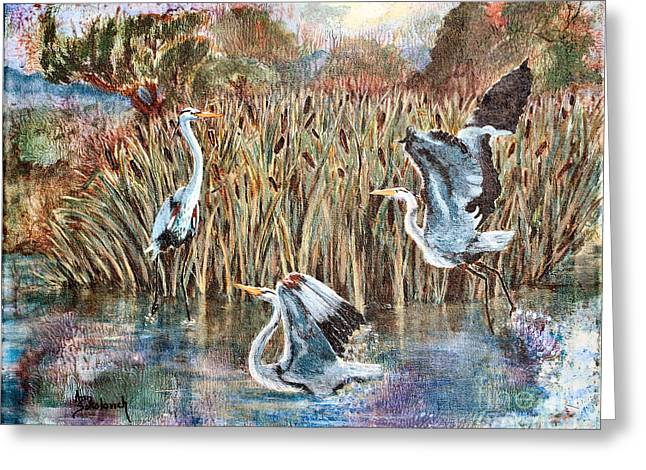 Sokolovich Paintings Greeting Cards - Blue Herons And Cats Greeting Card by Ann Sokolovich