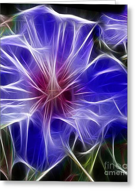 Polyptych Greeting Cards - Blue Hibiscus Fractal Panel 3 Greeting Card by Peter Piatt