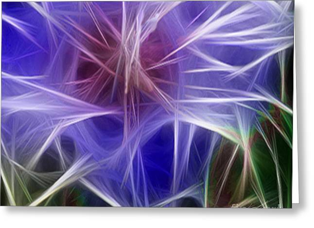 Polyptych Greeting Cards - Blue Hibiscus Fractal Panel 5 Greeting Card by Peter Piatt