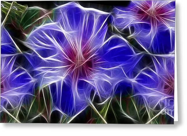 Blue Hibiscus Fractal Greeting Card by Peter Piatt
