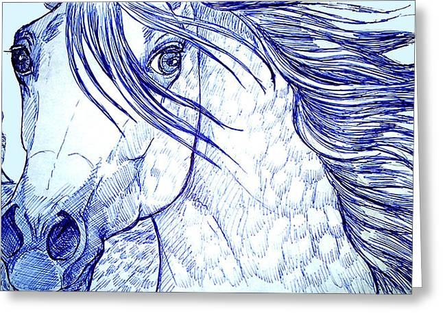 Jenn Cunningham Greeting Cards - Blue Horse Greeting Card by Jenn Cunningham