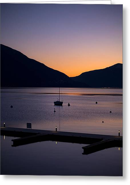 Docked Boat Greeting Cards - blue hour - Lake Maggiore Greeting Card by Joana Kruse