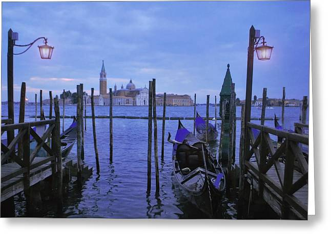 Jeka World Photography Greeting Cards - Blue Hour at the Docks of San Marco Greeting Card by Jeff Rose