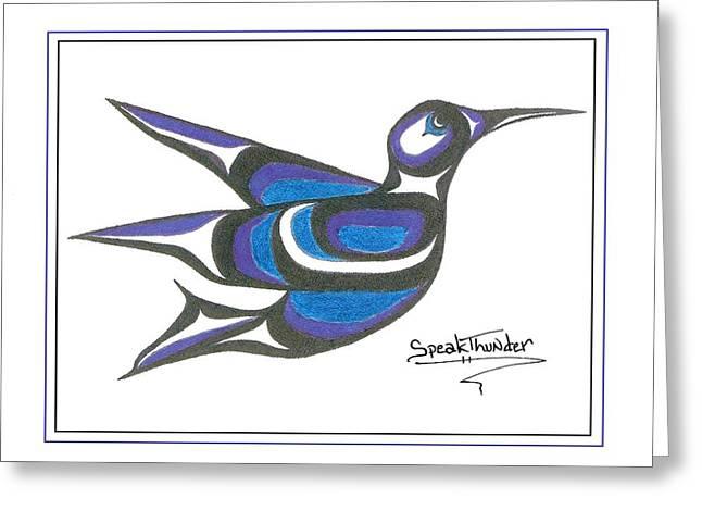 Speakthunder Berry Greeting Cards - Blue Humming Bird Greeting Card by Speakthunder Berry