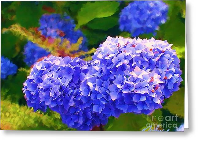 Leaves Digital Art Greeting Cards - Blue Hydrangea Greeting Card by Methune Hively