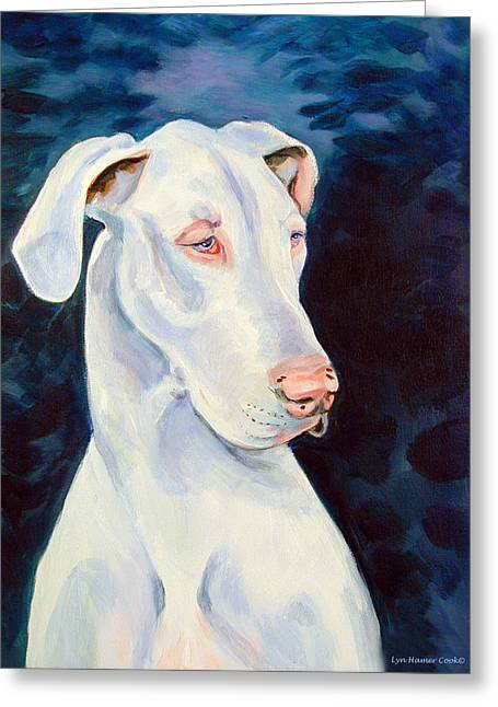 Great Dane Portrait Greeting Cards - Blue Ice Great Dane Greeting Card by Lyn Cook