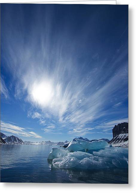 Svalbard Greeting Cards - Blue Ice Under A Blue Sky With Streaky Greeting Card by Ralph Lee Hopkins