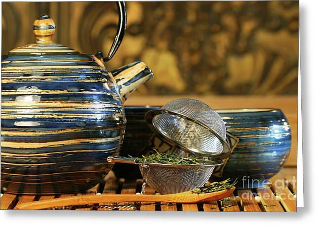 Blue Japanese teapot Greeting Card by Sandra Cunningham