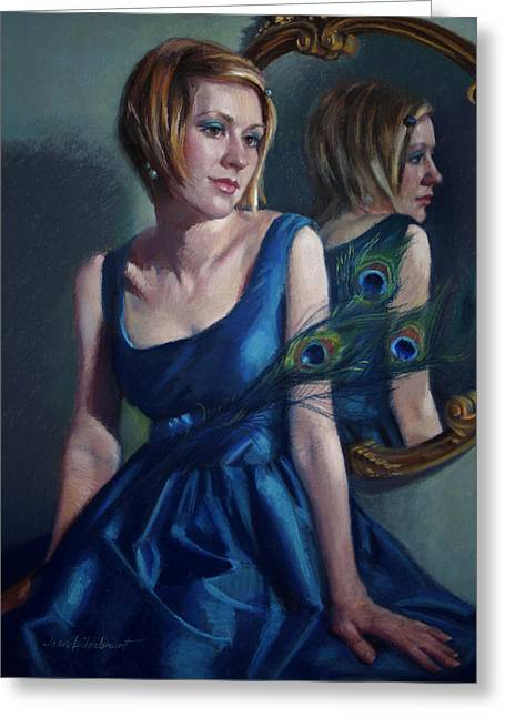 Figurative Pastels Greeting Cards - Blue Greeting Card by Jean Hildebrant