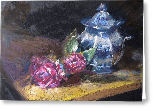 Jugs Pastels Greeting Cards - Blue Jug with Roses Greeting Card by Vicki Ross