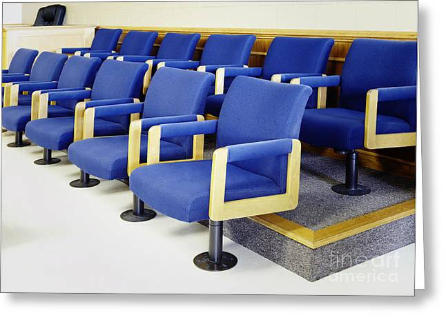 Legal System Greeting Cards - Blue Jury Seats Greeting Card by Skip Nall