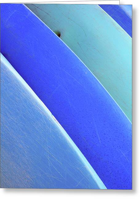 Surfing Art Greeting Cards - Blue Kayaks Greeting Card by Brandon Tabiolo - Printscapes