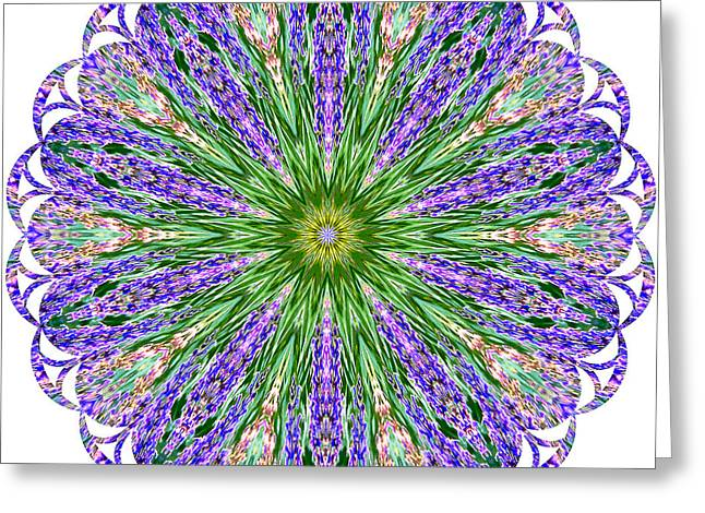 Blue Lavender Floral Kaleidoscope Greeting Card by Carol F Austin
