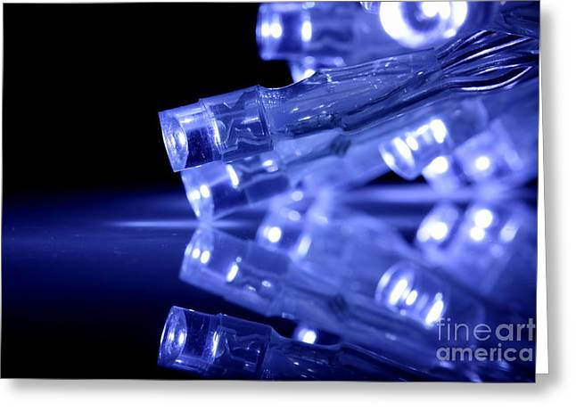 Diode Greeting Cards - Blue LED lights closeup with reflection Greeting Card by Simon Bratt Photography LRPS