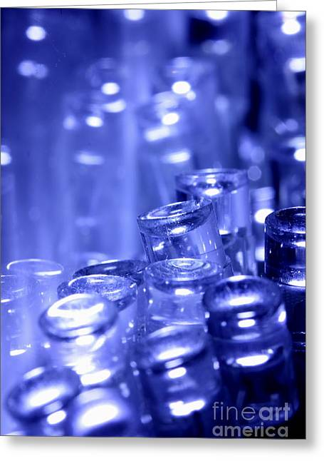 Diode Greeting Cards - Blue LED lights pointing upwards Greeting Card by Simon Bratt Photography LRPS