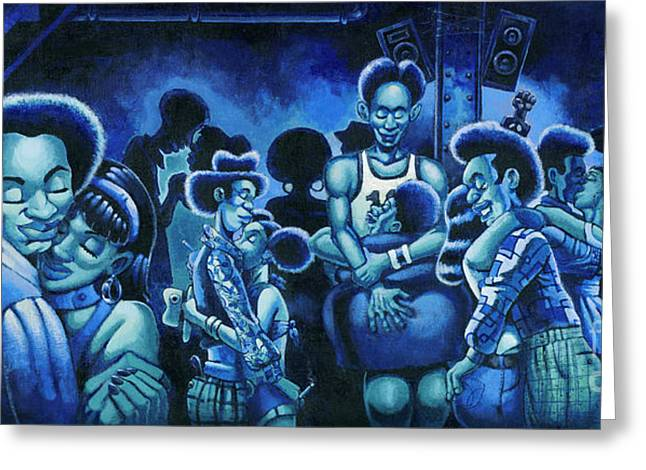 Basement Paintings Greeting Cards - Blue Lights In The Basment Greeting Card by Keith Shepherd