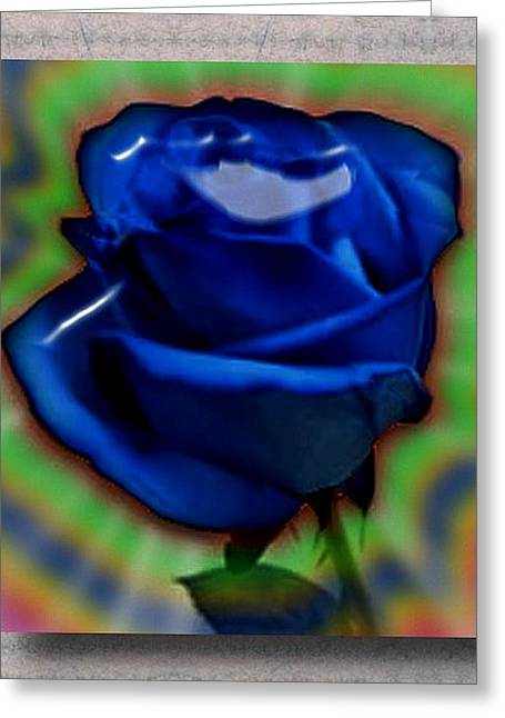 Magic Glass Art Greeting Cards - Blue Magic Rose Greeting Card by Sharri Plaza