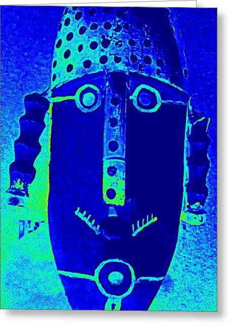 Woodcarving Greeting Cards - Blue Man Ungrouped Greeting Card by Randall Weidner