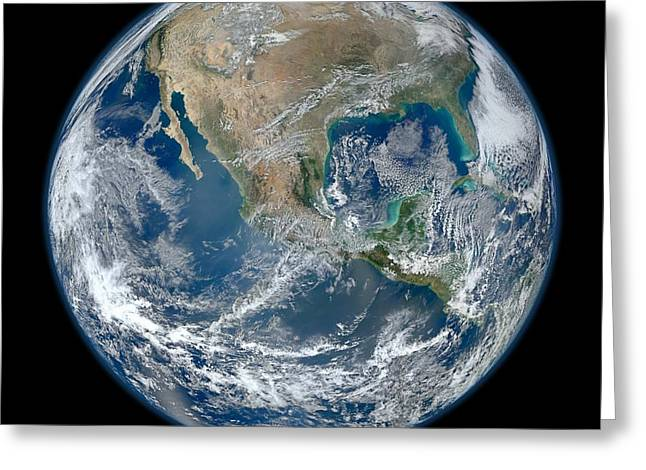 Planet Greeting Cards - Blue Marble 2012 Planet Earth Greeting Card by Nikki Marie Smith