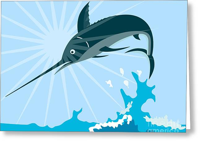 Blue Marlin Fish Jumping Retro Greeting Card by Aloysius Patrimonio