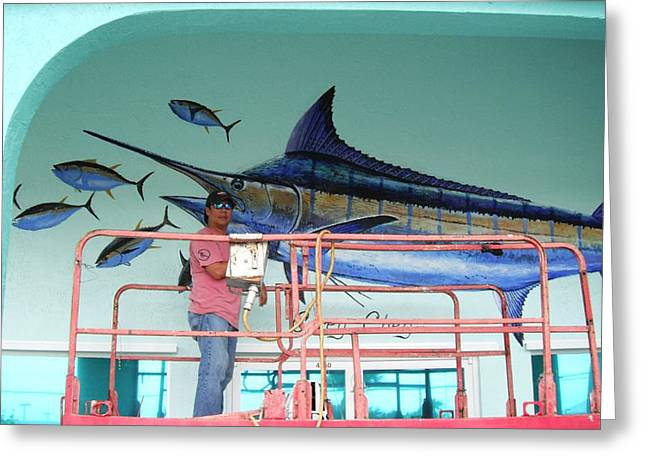 Hobe Sound Greeting Cards - Blue Marlin Motors mural Greeting Card by Carey Chen