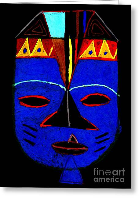 African-american Pastels Greeting Cards - Blue Mask Greeting Card by Angela L Walker