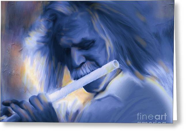Flute Player Greeting Cards - Blue Melody Greeting Card by Bob Salo