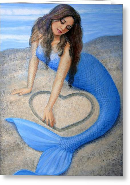 Sand Paintings Greeting Cards - Blue Mermaids Heart Greeting Card by Sue Halstenberg