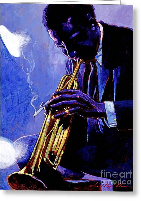 Trumpets Greeting Cards - Blue Miles Greeting Card by David Lloyd Glover