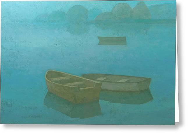 Calm Paintings Greeting Cards - Blue Mist Greeting Card by Steve Mitchell