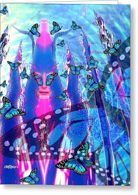 Camelot Mixed Media Greeting Cards - Blue Monarch Mistress Greeting Card by Seth Weaver