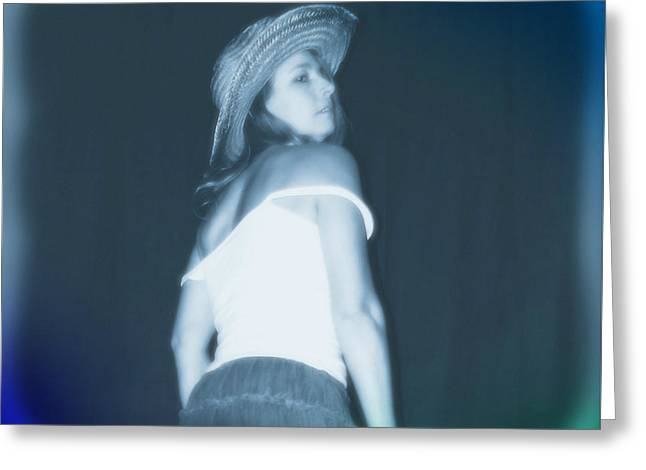 Cowgirl Skirt Greeting Cards - Blue Monday Greeting Card by Cindy Nunn