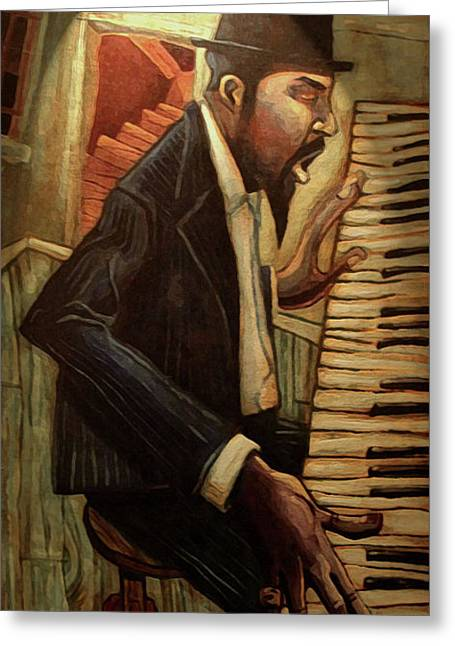 Piano Greeting Cards - Blue Monk Greeting Card by Sean Hagan