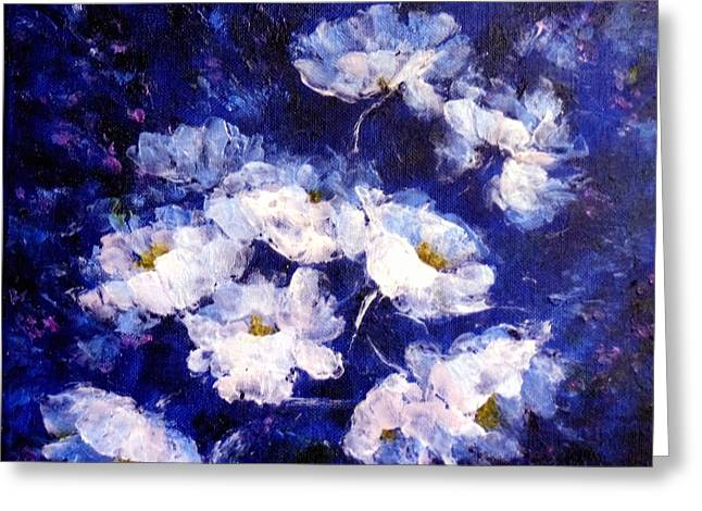 Enhanced Paintings Greeting Cards - Blue Mood Greeting Card by Madeleine Holzberg