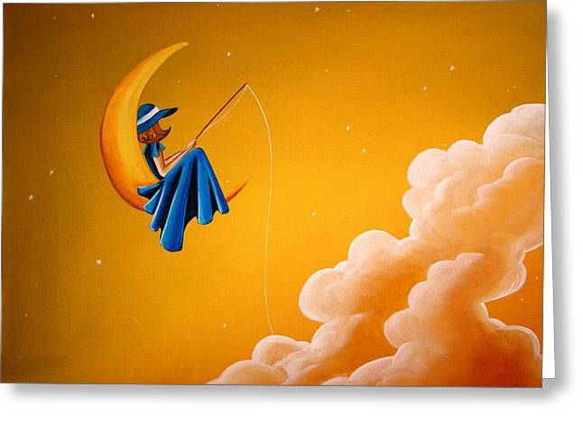Celestial Paintings Greeting Cards - Blue Moon Greeting Card by Cindy Thornton