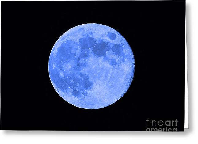 Luna Digital Art Greeting Cards - Blue Moon Close Up Greeting Card by Al Powell Photography USA