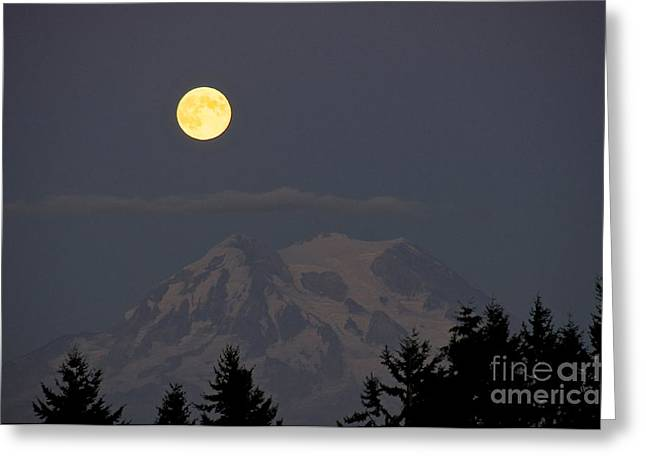 Sean Griffin Greeting Cards - Blue Moon - Mount Rainier Greeting Card by Sean Griffin