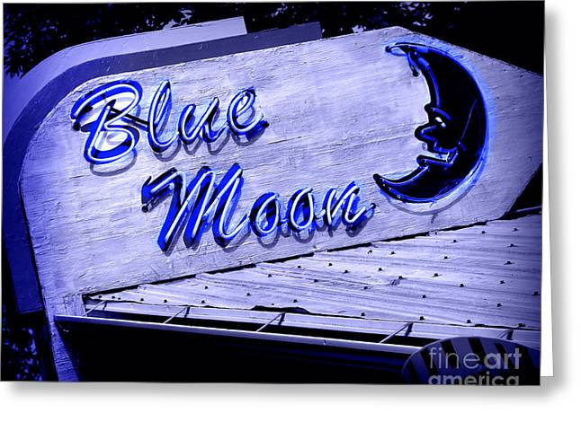 Man On The Moon Greeting Cards - Blue Moon Greeting Card by Perry Webster