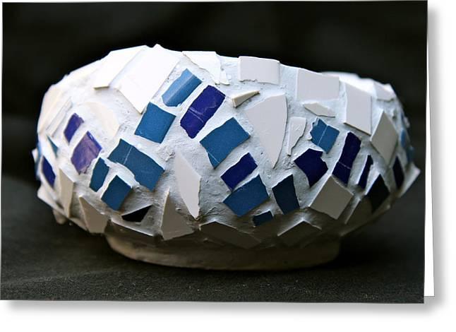 Ceramic Bowl Ceramics Greeting Cards - Blue mosaic bowl Greeting Card by Ghazel Rashid