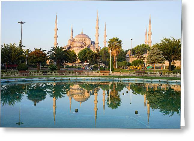 Stanbul Greeting Cards - Blue Mosque at Dawn Greeting Card by Artur Bogacki